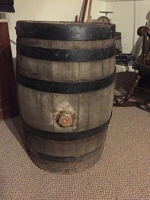 Antique Vintage 6 Metal Bands Primitive Oak Wood Whiskey Keg Barrel