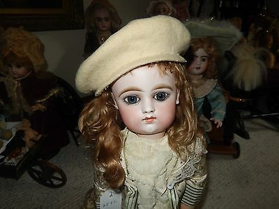 Lovely Antique Beige Wool Hat For French Or German Doll