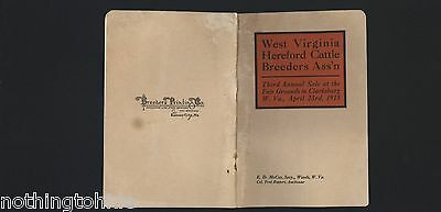 West Virginia Hereford Cattle Breeders Ass'n 4/23/1918 Sale Catalog
