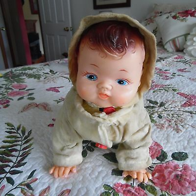 Vtg. Rosko Tin Vinyl Plastic Crawling Baby Doll Orig Outfit Battery Not Working