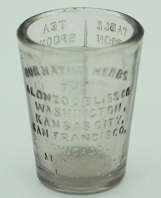 Product Dose Glass Bliss OUR Native Herbs 1890's advertising druggist pharmacy H