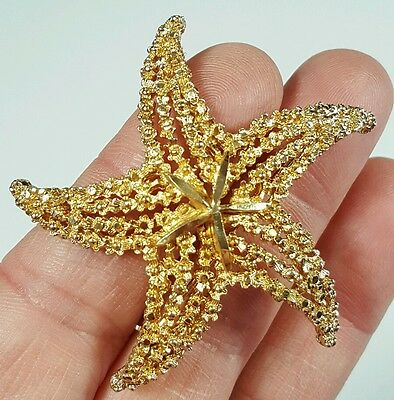 Vtg Jewelry Brooch Pin GoldTone Metal Sea Starfish Signed BSK Unique Design#1106