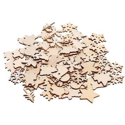 100x Christmas Tree Ornaments Wooden Hanging Snowflake Xmas Decorations