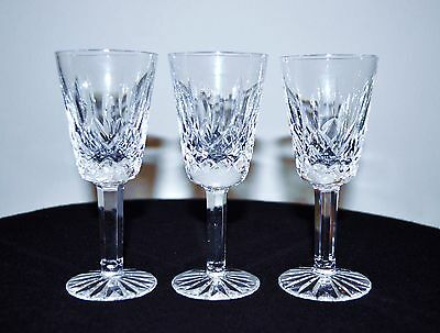 """Waterford """"lismore""""  3 Crystal 5 1/8"""" Sherry Wine Glasses"""