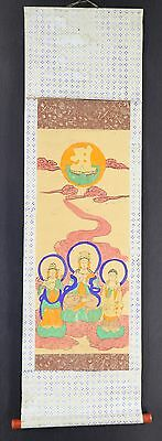 JAPANESE HANGING SCROLL ART Buddhism Buddhist Asian antique  #E4038
