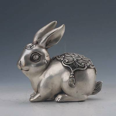 Chinese Tibetan silver Hand-Carved Rabbit Statue w Qing Dynasty  Mark Z195