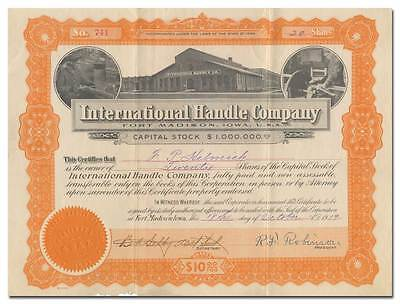RARE International Handle Company Stock Certificate - Fort Madison, IA
