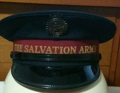 VINTAGE THE SALVATION ARMY HAT w/ BLOOD AND FIRE BADGE