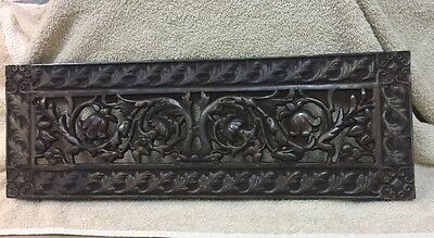 Antique Ornate Victorian Cast-Iron Fireplace Heat Grate Vent Wall Hanging