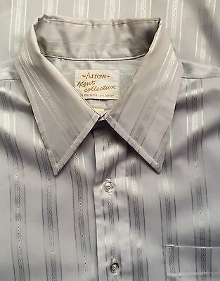 60s, 70s Arrow Kent Collection Mod Gray Stripe Dress Shirt 16-33 FREE SHIPPING