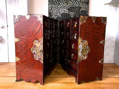 19th C CHINESE Apothecary Travel CHEST~Jichimu (Chicken-wing wood)