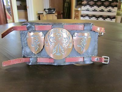 """VINTAGE LEATHER CUFF with COPPER MEDALLIONS  """"VERY NICE""""  LOOK!"""