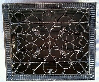 ANTIQUE FANCY CAST IRON FLOOR HEAT GRATE VENT REGISTER LOUVERS w/ BIRD HEADS