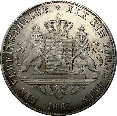 1862 Germany Hesse-Darmstadt Thaler in Superb Condition Silver Coin - KM: 338