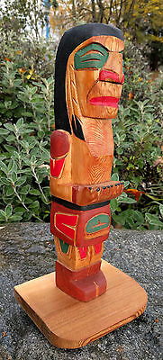 Northwest Coast Salish First Nations BC Canada Cedar Welcome Totem Pole Carving