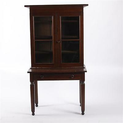 American Sheraton country primitive glass door cabinet bookcase on tw... Lot 106