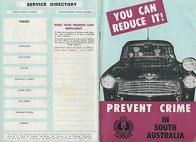 1957 Booklet You Can Reduce It Prevent Crime In Sth Aust Police Department B74.