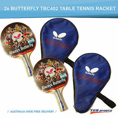 2x Butterfly TBC402 Table Tennis Ping Pong Bat Racket Paddle Long Handle + Pouch