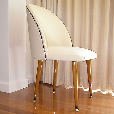 Feature Chair fully re-furbished in cream LEATHER - functional - talking point