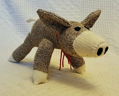 Olly the Brown Sock Pig Handmade Red Heel 18 inches by monSOCKeys