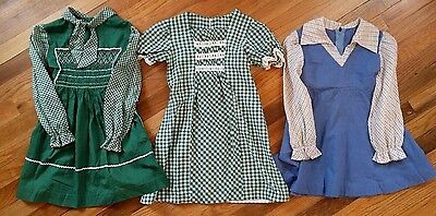 True Vtg 1970s Retro Girl's LOT of 3 Smocked Polly Flinders Handmade DRESSES 5 6