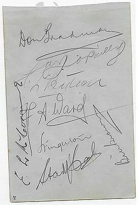 1938 Bradman Hand Signed  Australian Test Cricket Team 8 Autographs On Page