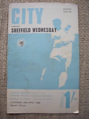 1968....MANCHESTER CITY v SHEFFIELD WEDNESDAY...Division One..Football Programme