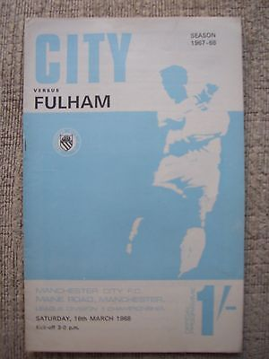 1968...MANCHESTER CITY v FULHAM....Division One.......Football Programme