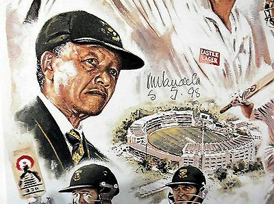1998 Nelson Mandela Hand Signed Print 'pat Symcox Match' Hand Signed Sa Team