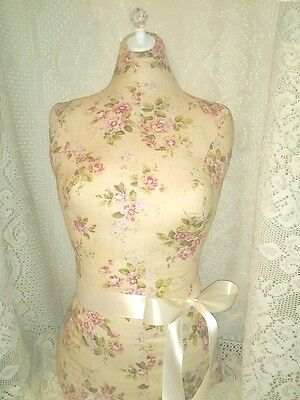 Boutique dress form bust craft booth displays Cream floral shabby decor