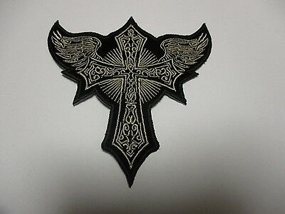 Celtic Cross and Wings Patch - Sew/iron on rider biker motorcycle High Quality