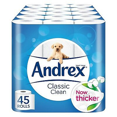 Andrex Classic Clean Toilet Roll Tissue Paper - Pack of 45 Rolls -Brand NEW
