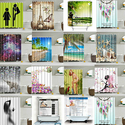 Waterproof Polyester Fabric Bathroom Shower Curtain Sheer Panel Decor Included H