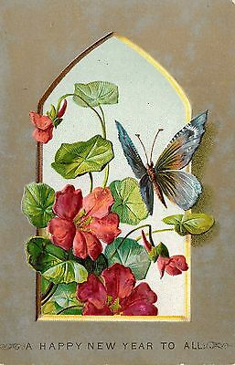 VICTORIAN NEW YEAR CARD, GOTHIC WINDOW BUTTERFLY & FLOWERS, EMBOSSED, 1880's