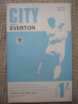 1968....MANCHESTER CITY v EVERTON......Division One......Football Programme