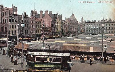nottingham postcard with empire tram in market square