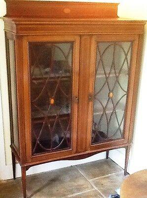 Edwardian Display Cabinet, Glass Frontage, 3 Shelves With Velvet Lining