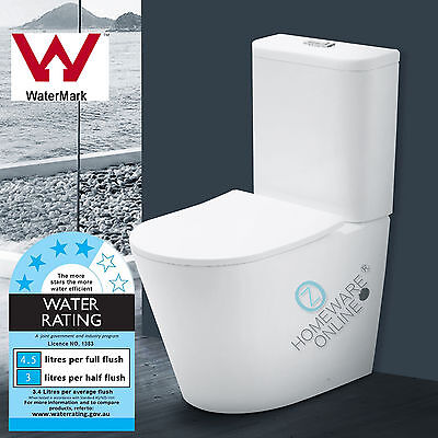 Rimless Toilet Suite Ceramic Back to Wall S TRAP P TRAP WELS WATERMARK NEW