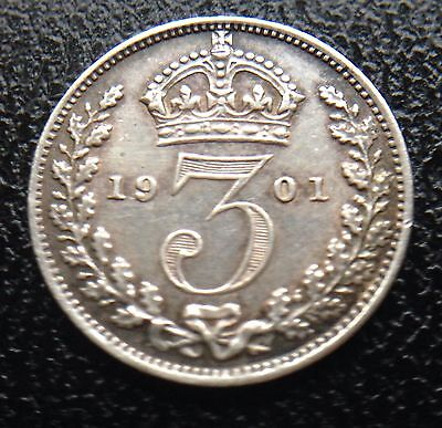 Queen Victoria 1901 Threepence 3 D Coin .925 Sterling Silver Great Britain Uk