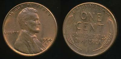 United States, 1954-S One Cent, Lincoln Wheat - almost Uncirculated