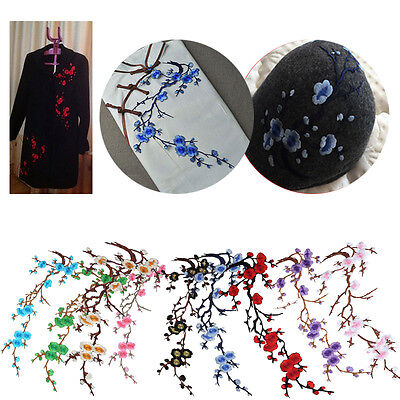 Plum Blossom Flower Applique Embroidered Floral Collar Sew Patch Bust Dress NEW