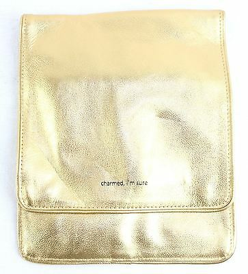 New Womens Gold Metalic Charmed Im Sure Cosmetic Bag Travel Bag Clasp Fasten