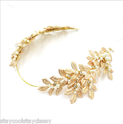 Women Party dance Wedding Bride Crystal Hair headband Headpiece Gold Pearl leaf
