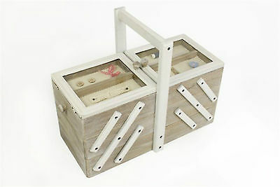 Two Tone  Wooden Sewing Craft Storage Box--Antique/vintage/shabby Chic Style