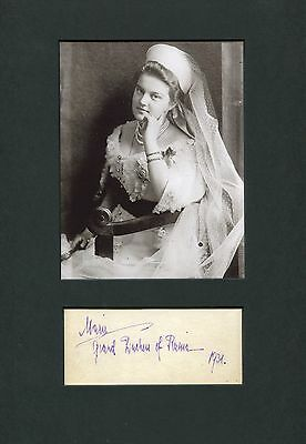 Grand Duchess Maria Pavlovna of Russia autograph, signed album page mounted