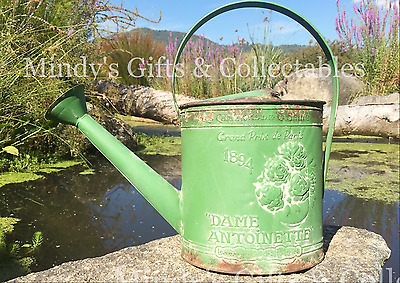 37cm Long Rustic Green Metal Watering Can Garden Ornament Antiqued Finish