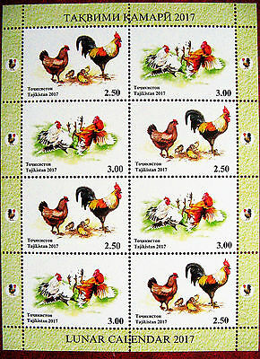 Tajikistan  2017  Year of the Rooster. Lunar  Calendar   M/S   perfor. MNH