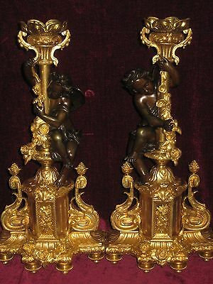 Set of Two 19th c. Antique French Gilt Bronze Decorative Stands with Cherubs