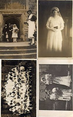 4 Pc Photos Wedding / Communion / Bride .. 1920s-40s