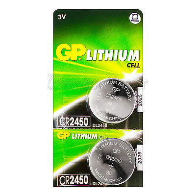2 x GP Lithium CR2450 batteries 3V Coin Cell DL2450 BR2450 Remote Watch EXP:2026